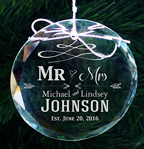 Personalized Family Christmas Ornament, Custom Etched Handmade Crystal Ornaments - COR31
