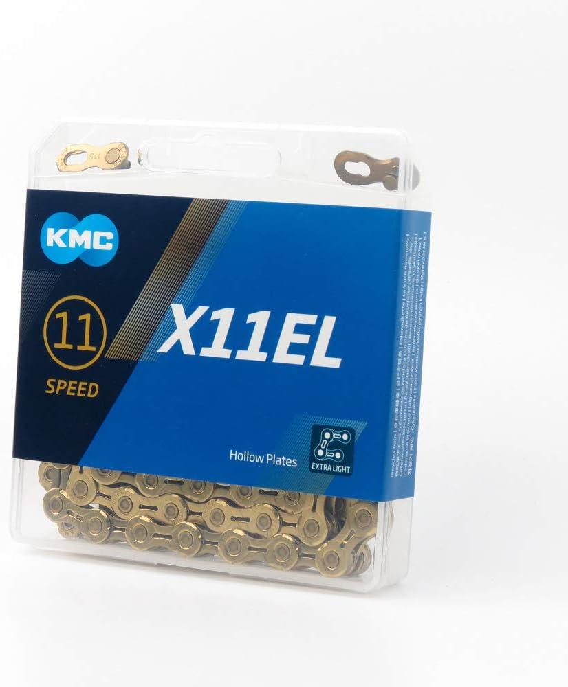 KMC Chain X-11-EL Cadena Estrecha, Unisex Adulto, Oro, 114 eslabones