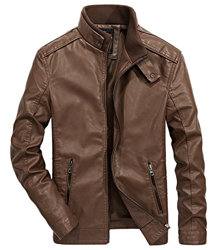 chouyatou Men's Vintage Stand Collar Zip-Front Rugged Pu Leather Jacket (Medium, Brown)