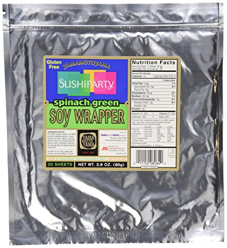 Yamamotoyama Sushi Soy Wrapper, Spinach Green, 80 grams, 20 Count