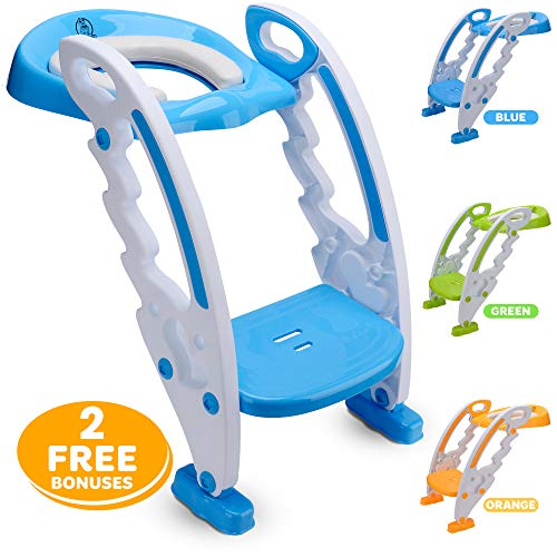 Potty Training seat for Toddlers - Anti Slip Kids Step Toilet - Potty Training Toilet for Boys & Girls - Adjustable Potty Chair with Ladder & Handles - Free Potty Training Chart and Ebook by Nush Nus (Chart Chair)