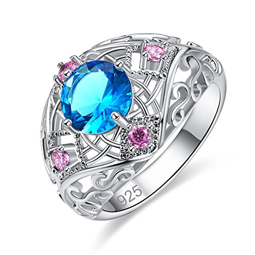 Veunora Ladies' 925 Sterling Silver 8x8mm Blue Topaz Filled Twisted Knot ()
