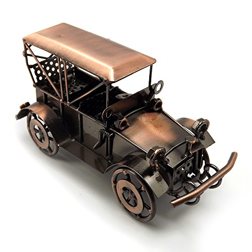 Escomdp Antique Vintage Car Home Décor Room Decoration Ornaments Handcrafted Collectible Vehicle Metal Kids Model Toy(Red copper) (Antique Metal Home Decor)