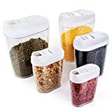 Dry Food & Cereal Container Set, Vordas 5 Piece Cereal Storage Containers with Lids, Ideal for Rice, Pasta, Cereal, Sugar, Coffee and More