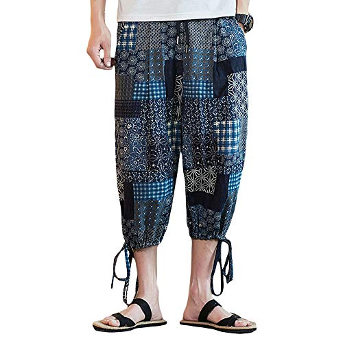 INVACHI Men's Elastic Waist Floral Printed Pattern Wide Leg Cotton Harem Baggy Pants Patchwork Linen Capri ()