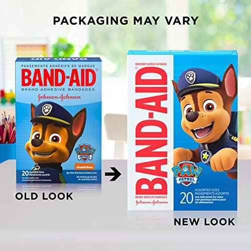 51dZ36pYTNL. AC - Band-Aid Brand Adhesive Bandages For Minor Cuts & Scrapes, Wound Care Featuring Nickelodeon Paw Patrol Characters For Kids And Toddlers, Assorted Sizes 20 Ct