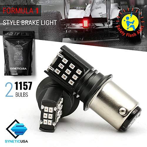 Red Flashing Strobe Blinking Rear Alert Safety Brake Tail Stop High Power LED Light Bulbs (1157, Red-Strobe)