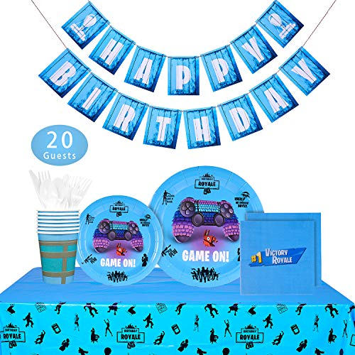 Video Game Party Supplies - 142 PCS Game On Party Decoration for Boys Birthday Party, Banner, Plates, Cups, Napkins, Tablecloth, Spoon, Forks, and Knives, Serves 20 ()