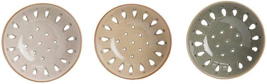 Set of 3 5 Round x 2H Stoneware Berry Bowl Colander