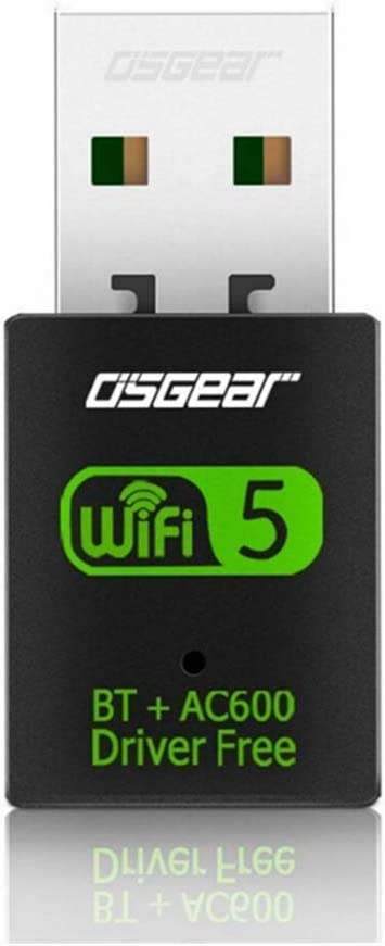 OSGEAR 600Mbps USB 2 in 1 WiFi Bluetooth Adapter Wireless Card Dual-Band 802.11a/b/g/n 2.4GHz 150Mbps 5.8 GHz 433Mbps Network Dongle Supports Win10 8 7 XP for PC Vista Mac
