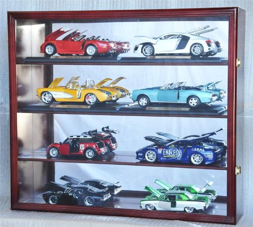 1/18 Scale Diecast Display Case Cabinet Holder Rack w/ UV Protection- Lockable with Mirror Back, Cherry