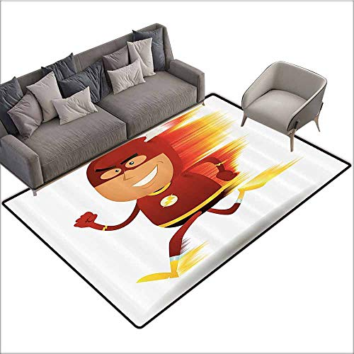 Soft Area Children Baby Playmats Superhero,Lightning Bolt Man with Cape and Mask Fast as Light Fun Cartoon Character Art Print,White Red 60