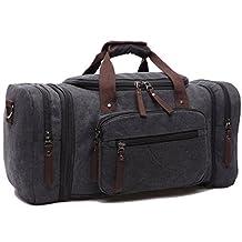 Leaper Extra Large Canvas Travel Tote Duffel Gym Bag Weekender Shoulder Handbag (Black)
