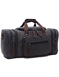 Leaper Extra Large Canvas Travel Tote Duffel Gym Bag Weekender Shoulder Handbag (Black)