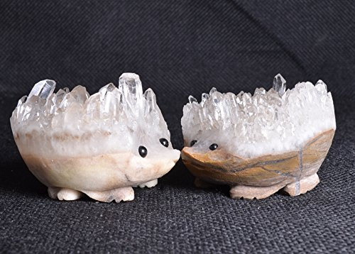 Yippee Natural Crystal Quartz Cluster/Labradorite/Amethyst Stone Figurine Carving Home Decor,Sculpture,Engraving,Crafts,Art Objects-(approx.6X7X4cm) -1point (Quartz Cluster Hedgehog)