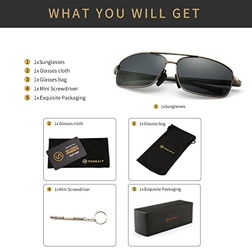 SUNGAIT Ultra Lightweight Rectangular Polarized Sunglasses UV400 Protection 6