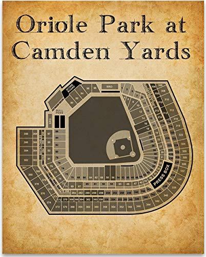 Oriole Park at Camden Yards Baseball Seating Chart - 11x14 Unframed Art Print - Great Sports Bar Decor and Gift Under $15 for Baseball Fans - Camden Yards Baltimore Orioles