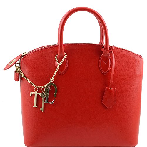 Red One Shoulder Leather Size Bag Women's Tuscany fwIq6I