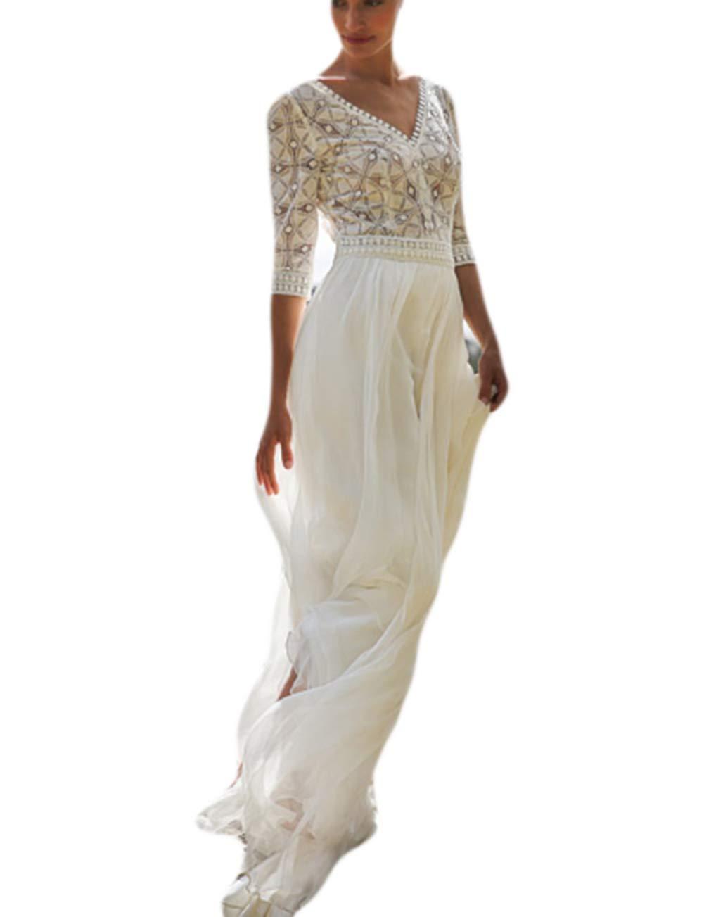 Bsubseach White Chiffon Half Sleeve Long Cover Up Dress Women V Neck Hollow Out Swimsuit Swimwear Wedding Dresses Beach Robe