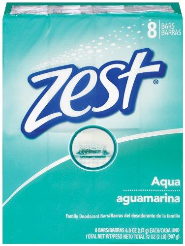 Zest 8-Bar Bath Size Soap, Aqua, 4 Ounce