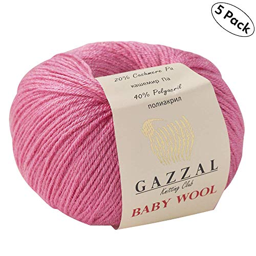 5 Pack - Total 8.8 Oz Gazzal Baby Wool 1.76 Oz (50g) / 191 Yards (175m) Fine Baby Yarn, 40% Lana Merino, 20% Cashmere Type Polyamide, Pink - 831 ()