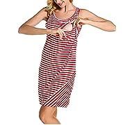 Nituyy Women Stripe Print Sleeveless Maternity Breastfeeding and Nursing Dress (S, Red)