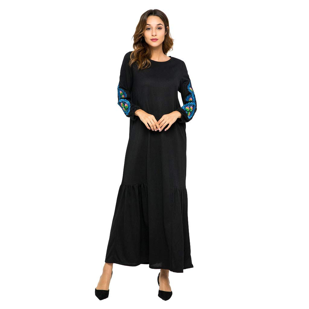 MISYAA Muslim Dresses for Women Long Sleeve Embroidered Tube Maxi Dress Black Banquet Cocktail Robe Swing Dresses M-2XL