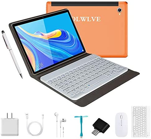 Tablet 10.1 Inch Android 9.0, 2 in1Tablet PC with Wireless Keyboard Mouse& Tablets Case, 4GB RAM +64GB ROM/128GB Computer Tablets, 8MP Quad Core/Dual Sim/8000 mAh,Support 3G/4G Phone Call (Orange)