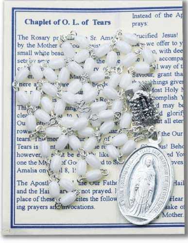 """luxe Chaplet with White Oval Beads Packaged with a Laminated Holy Card & Instruction Pamphlet (Overall 6.5"""" X 3.5"""") (Chaplet Card)"""
