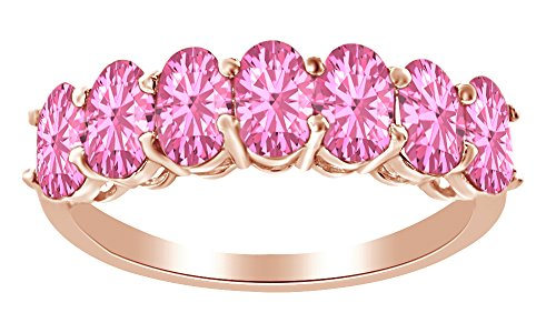 AFFY 1.75 Ct Oval Shape Simulated Pink Tourmaline Half Eternity Band Ring in 14k Rose Gold Over Sterling Silver Ring Size : 7