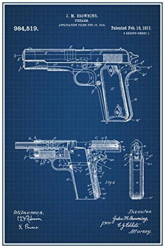 1911 Handgun Browning Official Patent Blueprint Poster 24x36