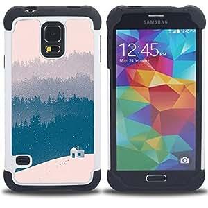 For Samsung Galaxy S5 I9600 G9009 G9008V - blue winter forest view beige Dual Layer caso de Shell HUELGA Impacto pata de cabra con im??genes gr??ficas Steam - Funny Shop -