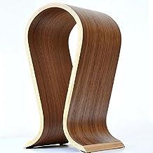 "Zebratown 10"" Tall Walnut Finish Wooden Omega Headphones Stand/Hanger/Holder Gaming Headset Display"