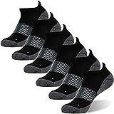 Antibacterial Socks, FOOTPLUS Men and Women Moisture Wicking Antimicrobial Low Cut Copper Running Socks, 6 Pairs Black, Large