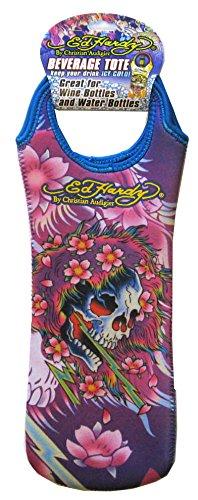 Audigier Bag (Ed Hardy By Christian Audigier Neoprene Reusable Wine Bottle Tote Gift Bag, Tattoo for Men, Women (Skull Flower))