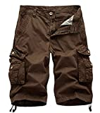 AOYOG Mens Multi-Pocket Camo Cargo Shorts Casual Loose Fit Camouflage Short Cotton