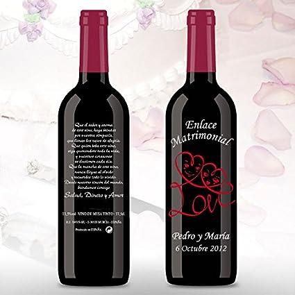50 Botellas de vino Tinto (3/8) decorada directamente sobre vidrio con dibujo de Corazones Love para detalles de boda, se personaliza