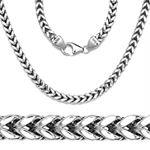 Solid Sterling Silver Square Franco Chain Necklace