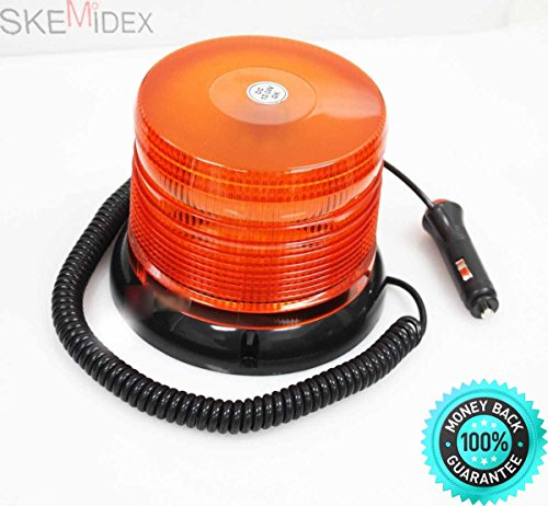 Self Contained Strobe - SKEMiDEX--- 60LED Magnetic Mount Strobe and Rotating Beacon Rooftop Warning Light Amber New 12V 24V Rotating warning 60 LED light(5050LED) with polycarbonate amber dome; self contained LED no external
