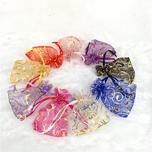 Drawstring Jewelry Gift (Wuligirl 100 PCS 2.75 by 3.54 inches Mixed Color Eyelash Organza Small Sheer Mesh Gift Bags with Drawstring edding Party Bags Candy Bags Jewelry Bags (100 pcs Mix Eyelash, 2.75x3.54