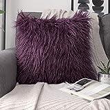 Purple Throw Pillows Phantoscope Decorative New Luxury Series Merino Style Purple Faux Fur Throw Pillow Case Cushion Cover 18