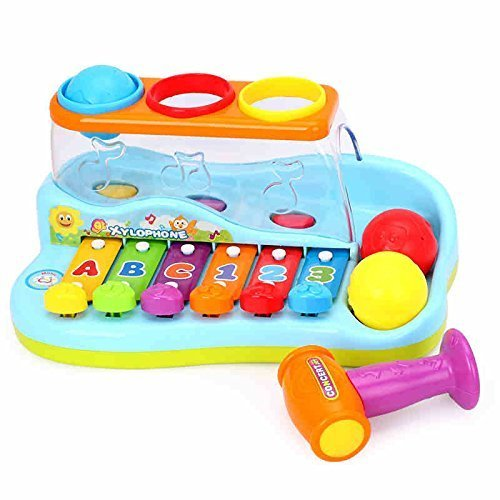 Huile Kids Musical Toy Xylophone Piano Pounding Bench with Balls and Hammer by Huile