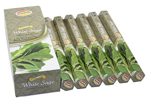 - Govinda Incense - White Sage - 120 Incense Sticks, Premium Incense, Masala Coated