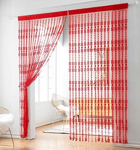 - Taiyuhomes Lace Door Srting Curtain Warm Sheer Curtains Flat Tassel Ribbon Curtain Window Panel Room Divider Wall Decorations (36x79,Red01)