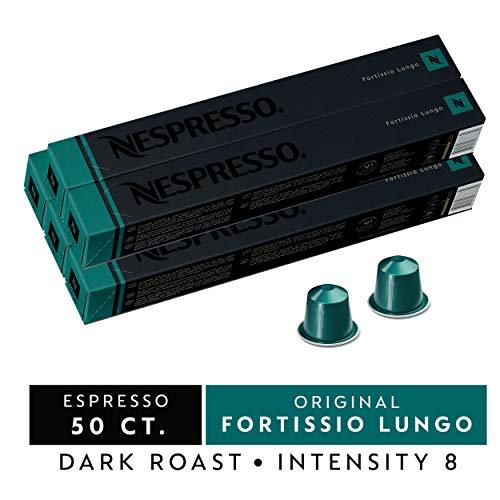 Nespresso Capsules OriginalLine, Fortissio Lungo, Dark Roast Coffee, 50 Count Coffee Pods, Brews 3.7oz