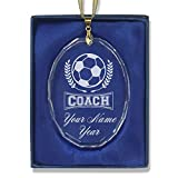 SkunkWerkz Christmas Ornament, Soccer Coach, Personalized Engraving Included (Oval Shape)