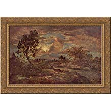 Sunset at Arbonne 24x18 Gold Ornate Wood Framed Canvas Art by Theodore Rousseau