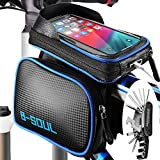 ODSPTER Cycling Bike Frame Bag, Bike Bag Phone Pouch, Waterproof Touchscreen Front Top Tube Frame Bag Bicycle Double Pouch Saddle Bags for Smartphones up to 6.2inch with Repair Tool