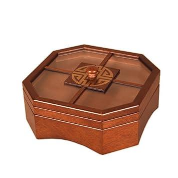 HUZHUANGZHUANG HZZymj-2 UNIDS Cajas de Fruta Seca Caja de Caramelos Chino de Madera Placa de merienda Plato de Fruta cuadrícula con Sala de Estar Creativa ...