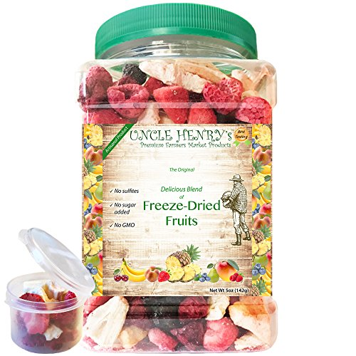 "Freeze Dried Fruit, 9 Delicious Fruits Strawberry, Blueberry, Raspberry & More #1 Best Taste Premium Farmers Market Quality Big Double-Sealed Artisan Product ""You'll Love it"" Henry's Guarantee - 3 Lb Mango Peach"